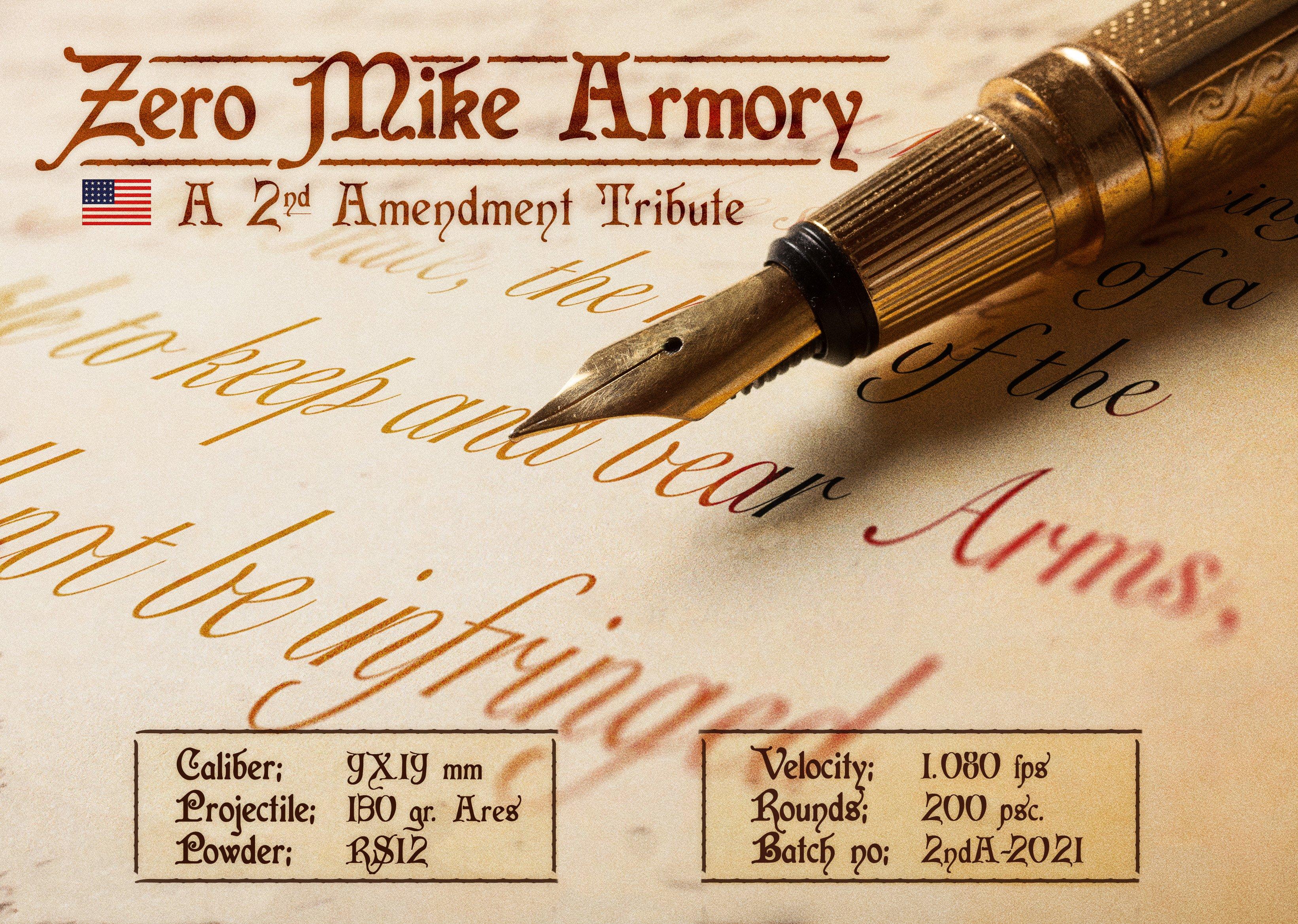ZMA Ammo Premium 2nd Amendment Tribute 9x19mm, 200 stk. 130gr.